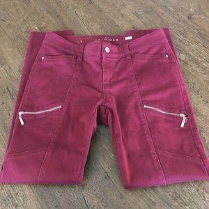 WHBM Burgundy Skimmer Jeans